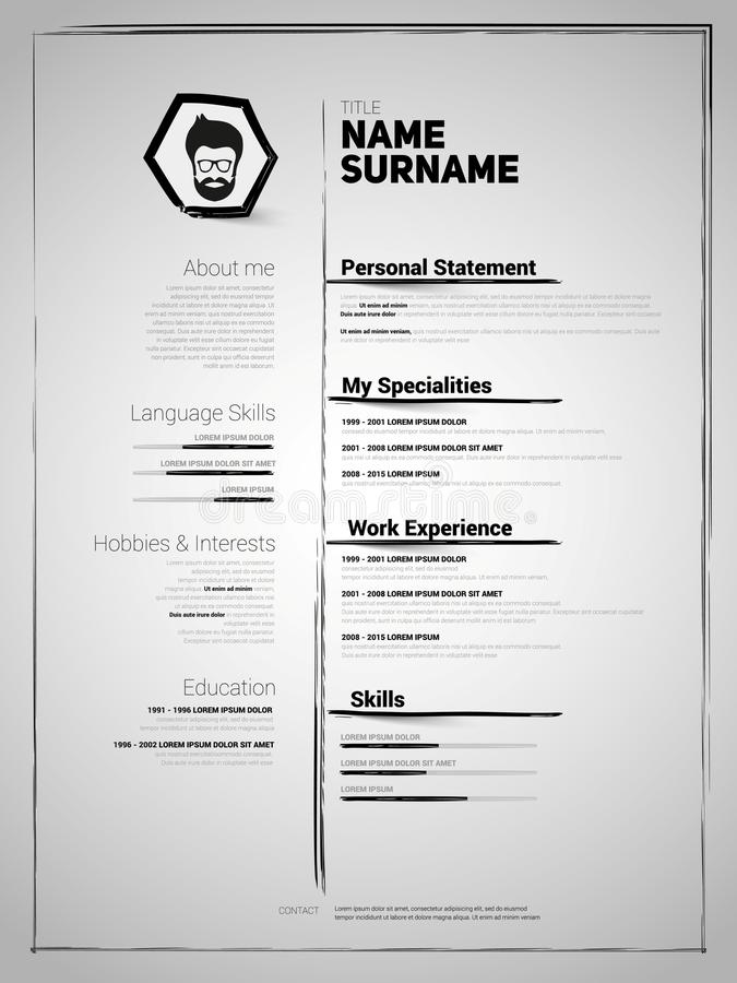 Minimalist CV, resume template. With simple design and brush drawed lines stock illustration