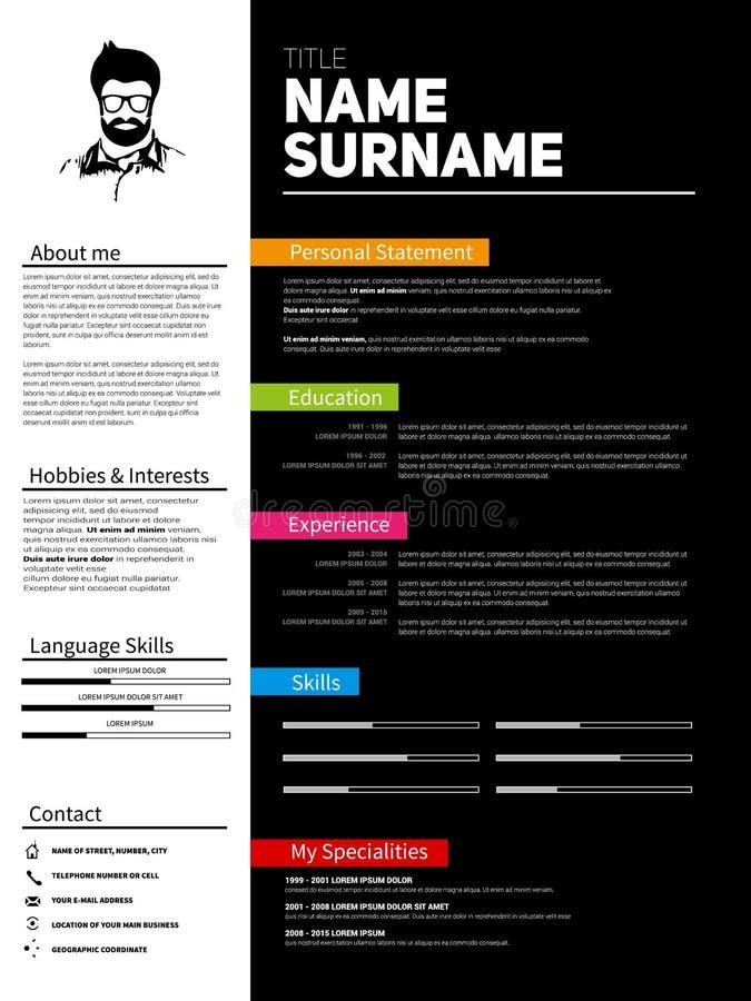 Minimalist CV, resume template stock photo