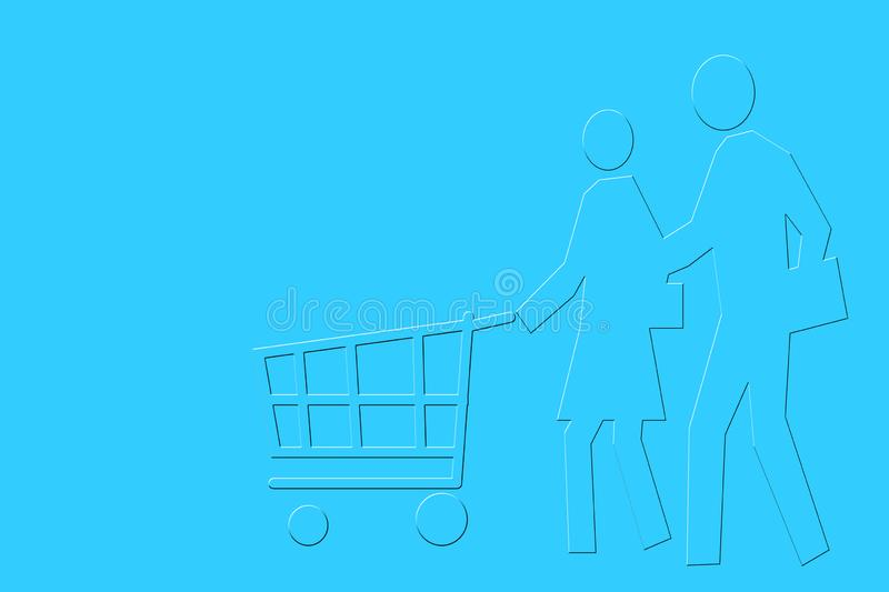 Minimalist design of Couple with shopping trolley.;. Minimalist design of Couple with shopping trolley royalty free illustration
