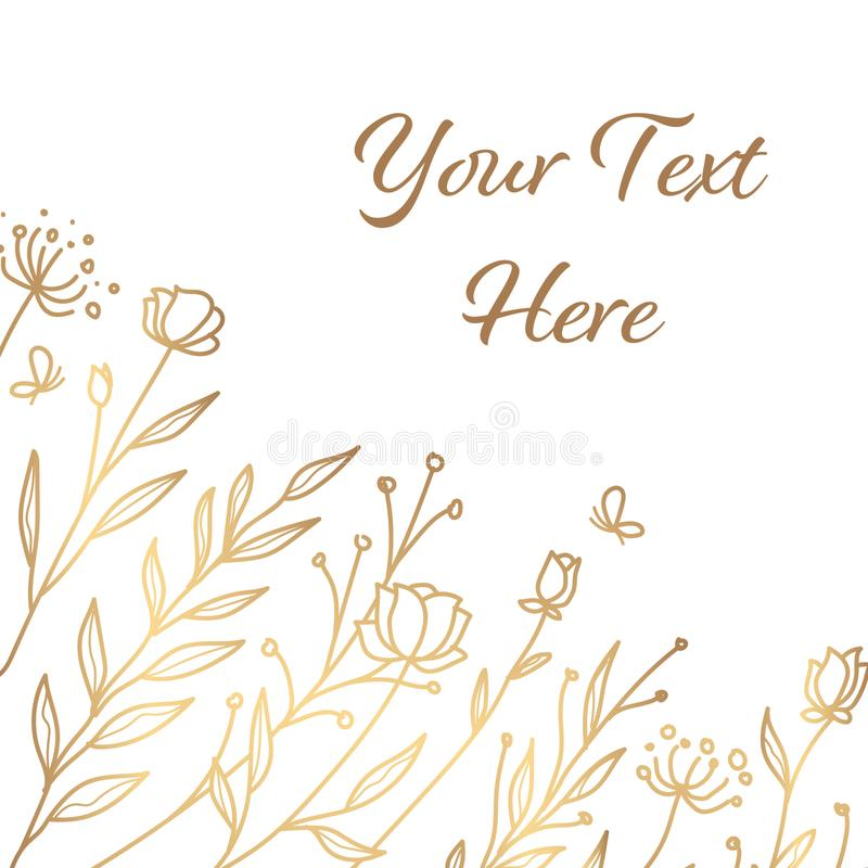 Minimalist gold floral background stock images
