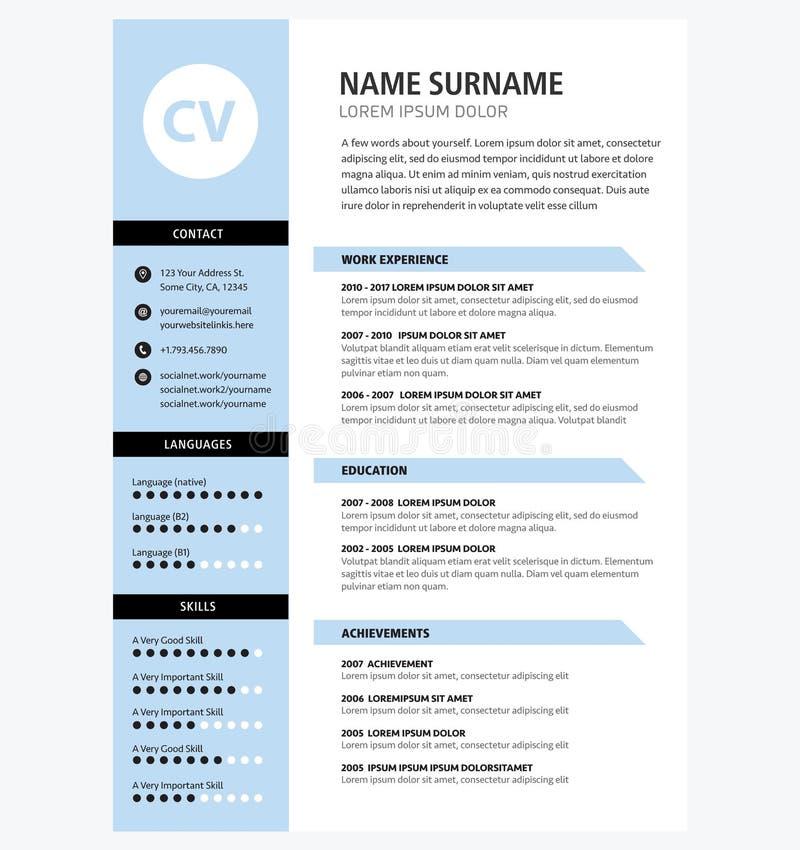 Minimalist färg för CV-mallblått stock illustrationer