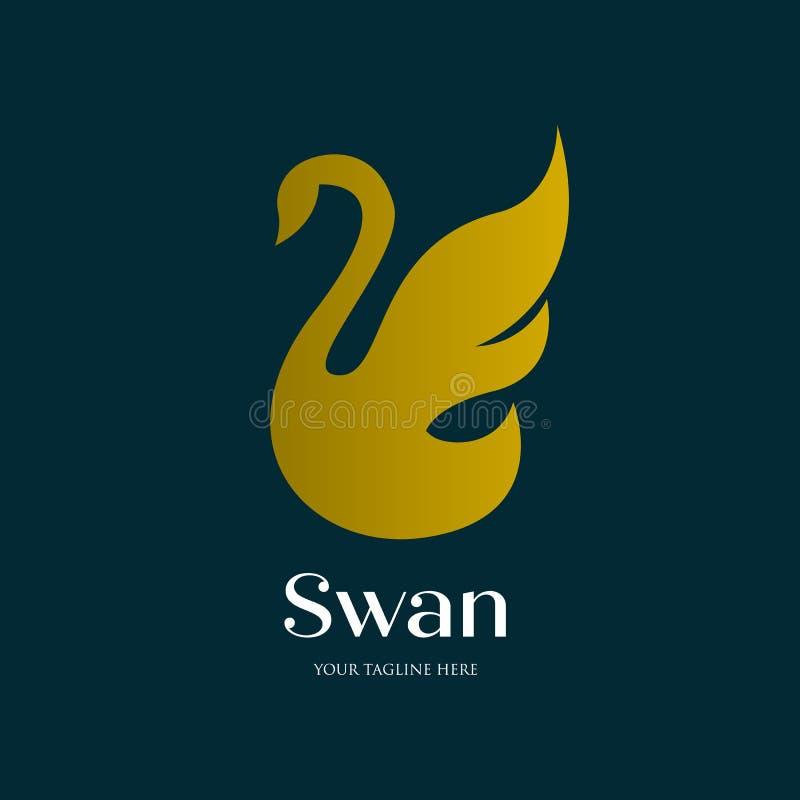 Minimalist flying swan logo , simple and luxury vector illustration