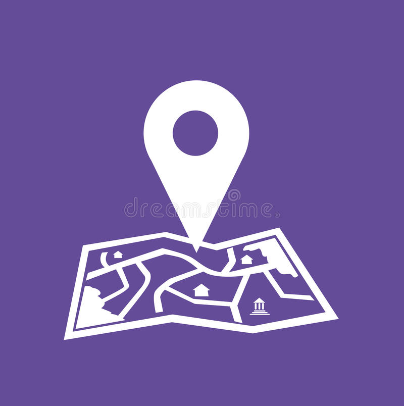 Minimalist Folded Map with Location Icon vector vector illustration