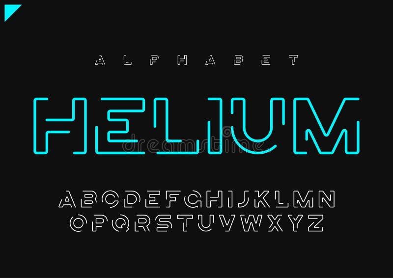 Minimalist futuristiskt linjärt alfabet för heliumvektor, stilsort, l royaltyfri illustrationer