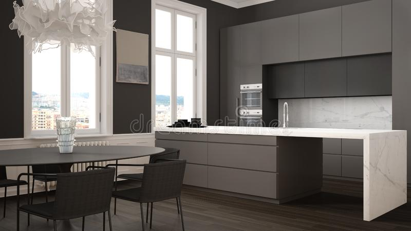 Minimalist gary and black kitchen in classic room with moldings, parquet floor, dining table with chairs, marble island and. Panoramic windows. Modern stock illustration