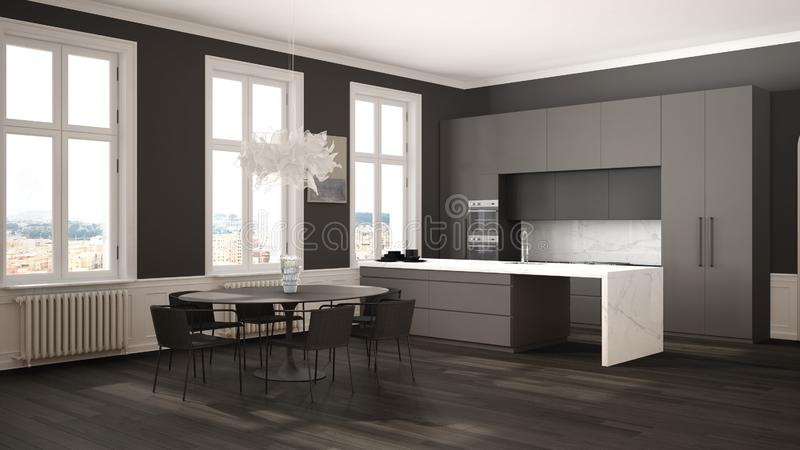 Minimalist gary and black kitchen in classic room with moldings, parquet floor, dining table with chairs, marble island and. Panoramic windows. Modern vector illustration