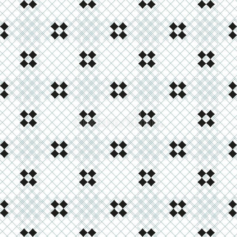 Minimalist geometrisk sömlös modell för vektor med små kors, fyrkanter Enkel minsta svartvit textur vektor för digitalt för famil stock illustrationer