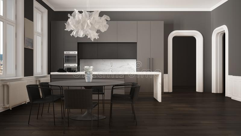 Minimalist gray and black kitchen in classic room with moldings, parquet floor, dining table with chairs, marble island and. Panoramic windows. Modern vector illustration