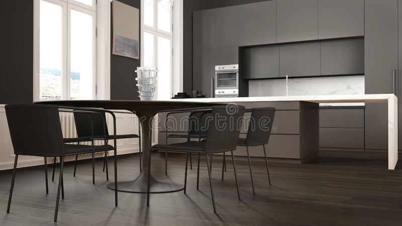 Minimalist gray and black kitchen in classic room with moldings, parquet floor, dining table with chairs, marble island and. Panoramic windows. Modern stock illustration