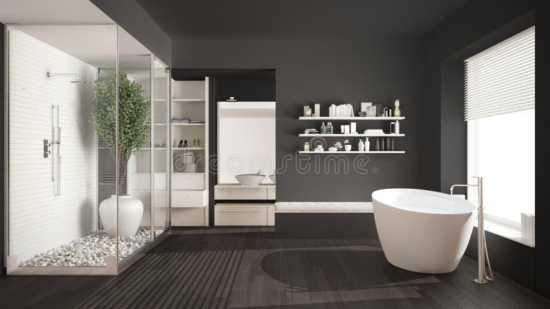 Download Minimalist Gray Scandinavian Bathroom With Walk In Closet Class Stock Image