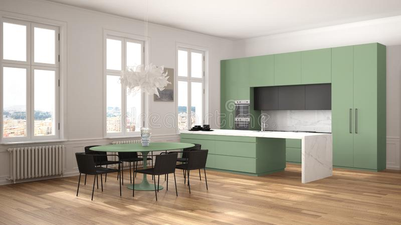 Minimalist green and black kitchen in classic room with moldings, parquet floor, dining table with chairs, marble island and. Panoramic windows. Modern stock illustration