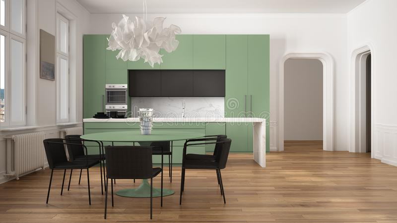 Minimalist green and black kitchen in classic room with moldings, parquet floor, dining table with chairs, marble island and. Panoramic windows. Modern royalty free illustration
