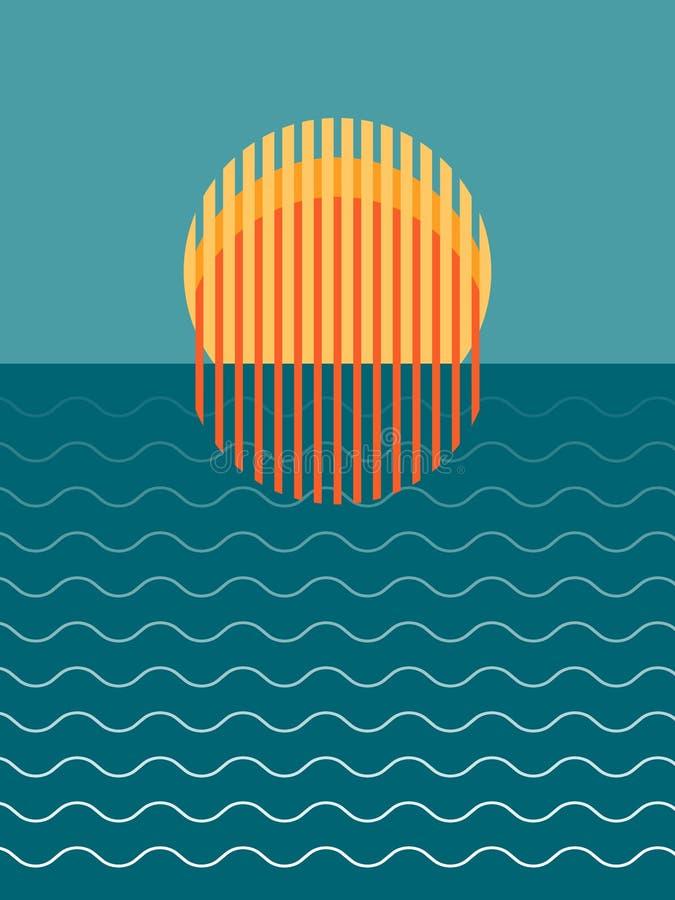 Minimalist härlig solnedgång över havet arkivbild