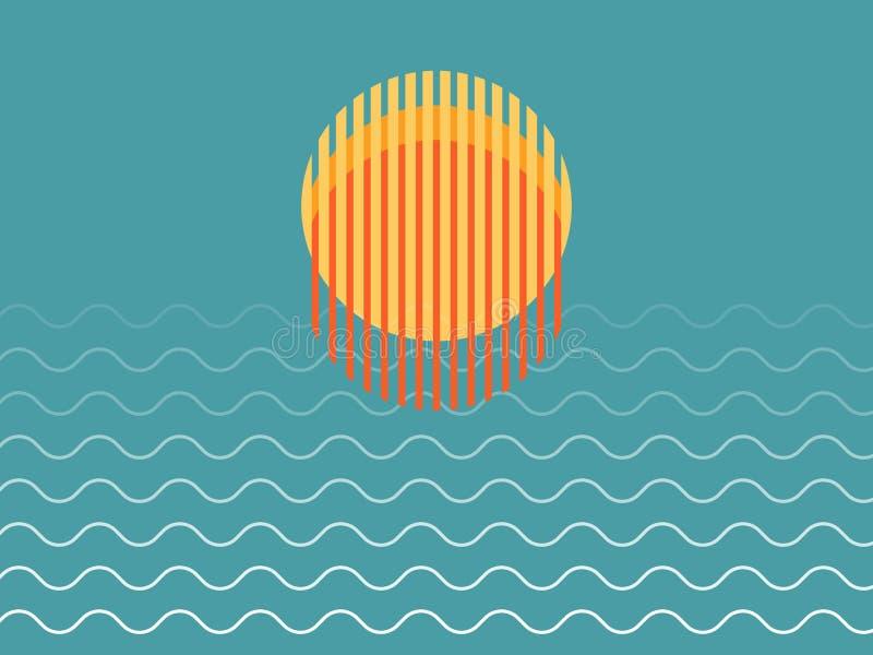 Minimalist härlig solnedgång över havet arkivfoton