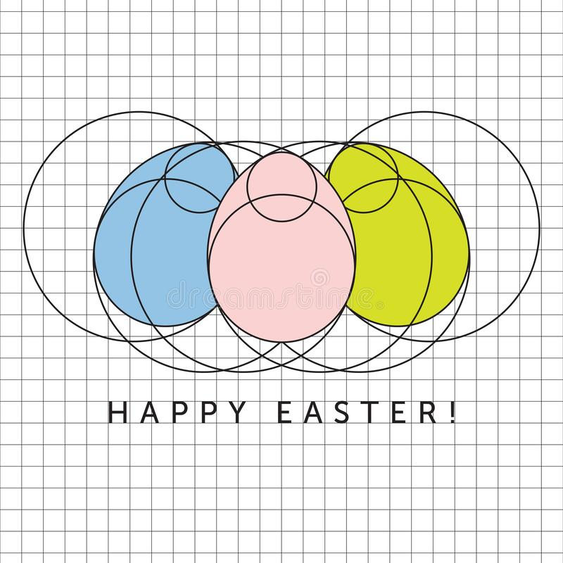 Minimalist Happy Easter Eggs Greetings Design vector illustration