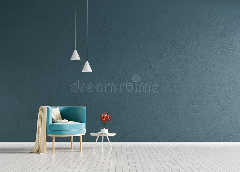 Minimalist interior with armchair. Scandinavian style hipster interior. 3D illustration.  royalty free stock photography