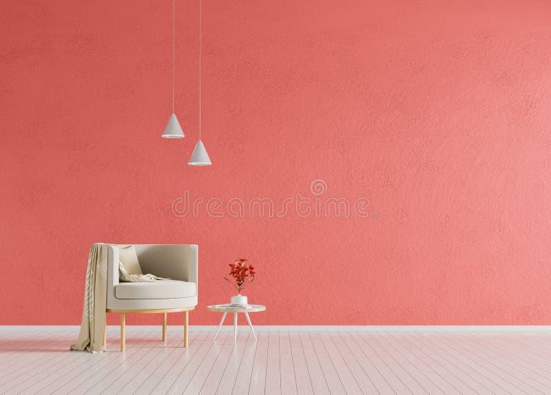 Minimalist interior with armchair. Scandinavian style hipster interior. 3D illustration.  stock photo