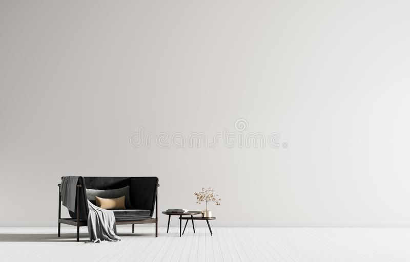 Minimalist interior with armchair. Scandinavian style hipster interior. 3D illustration.  royalty free stock images