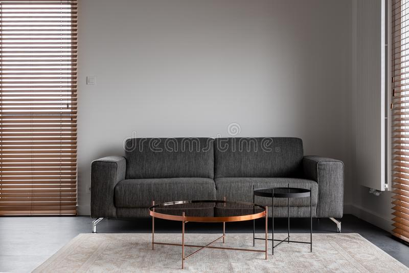 Minimalist interior with gray sofa. Minimalist and elegant interior with gray sofa and metal coffee tables royalty free stock images