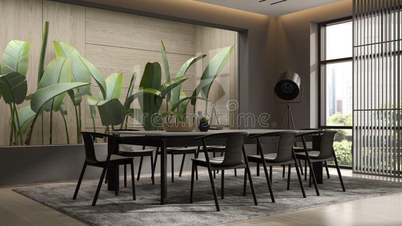 Minimalist Interior of modern living room 3D rendering royalty free stock photo