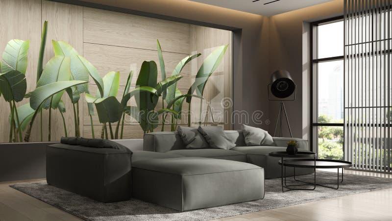 Minimalist Interior of modern living room 3D rendering royalty free stock image