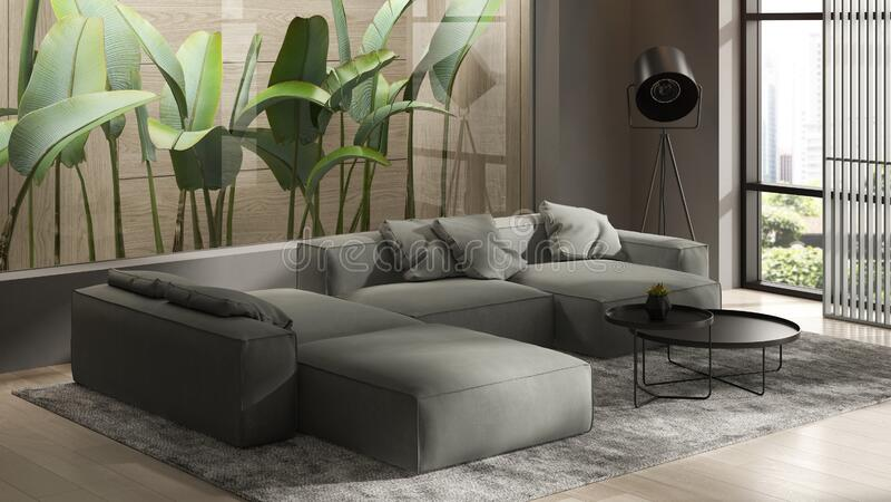 Minimalist Interior of modern living room 3D rendering stock photo