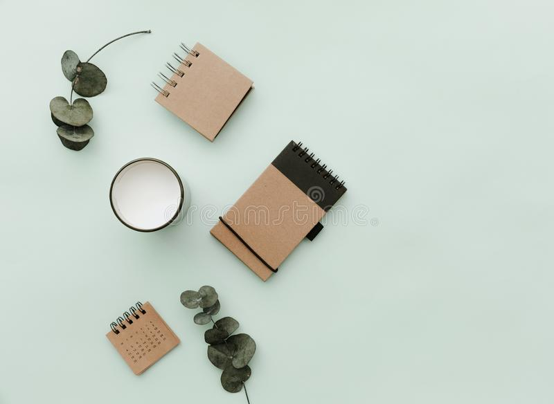 Minimalist Lifestyle For Website, Marketing, Social Media with eco craft notebook stock image