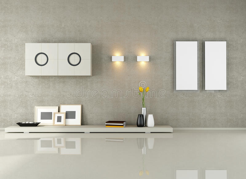 Download Minimalist living room stock illustration. Image of beige - 25359437