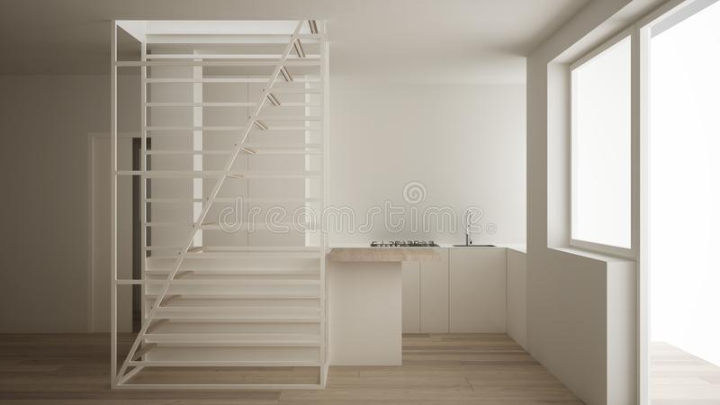 Minimalist living room with kitchen and white modern staircase with wooden steps, parquet floor, big window, morning bright light. Contemporary interior design vector illustration