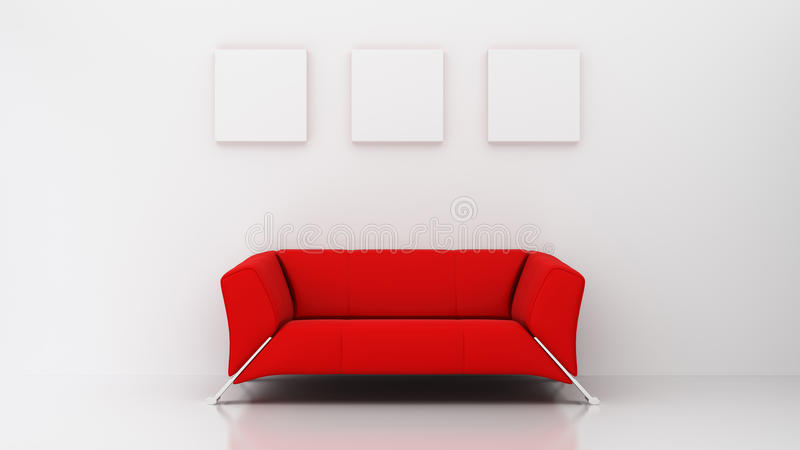 Minimalist living room with red couch and three picture frames stock illustration