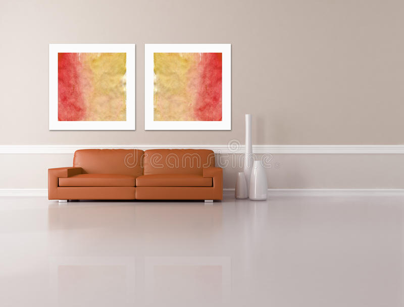 Minimalist Living Room - Rendering Royalty Free Stock Photos