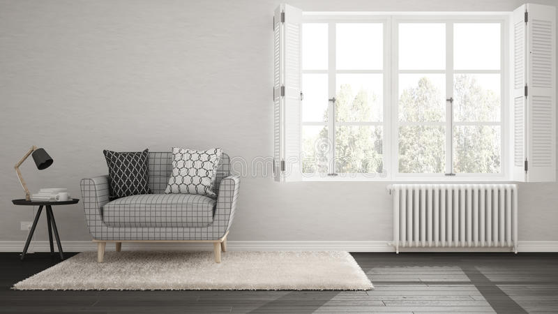 Minimalist living room, simple white and gray living with big wi stock illustration