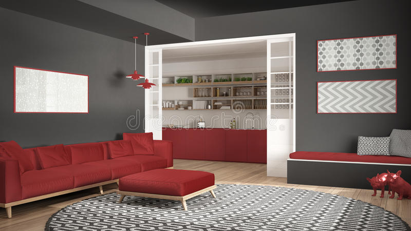 Download Minimalist Living Room With Sofa, Big Round Carpet And Kitchen I  Stock Illustration