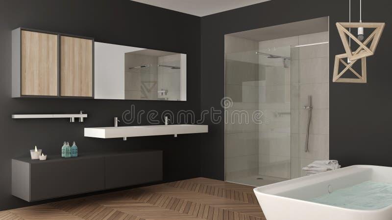 Minimalist ljust badrum med den dubbla vasken, duschen och badkaret, stock illustrationer