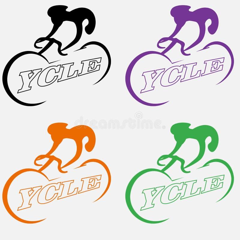 Minimalist logo av ett cyklistabstrakt begrepp genom att använda negativt utrymme royaltyfri illustrationer