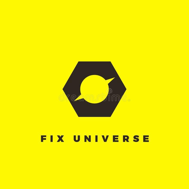 Minimalist logotyp för vektor av planeten inom skruv-mutter Svart logotyp för reparationsservice vektor illustrationer