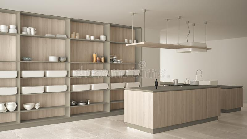 Minimalist luxury expensive white and wooden kitchen, island, sink and gas hob, open space, marble ceramic floor, modern interior vector illustration