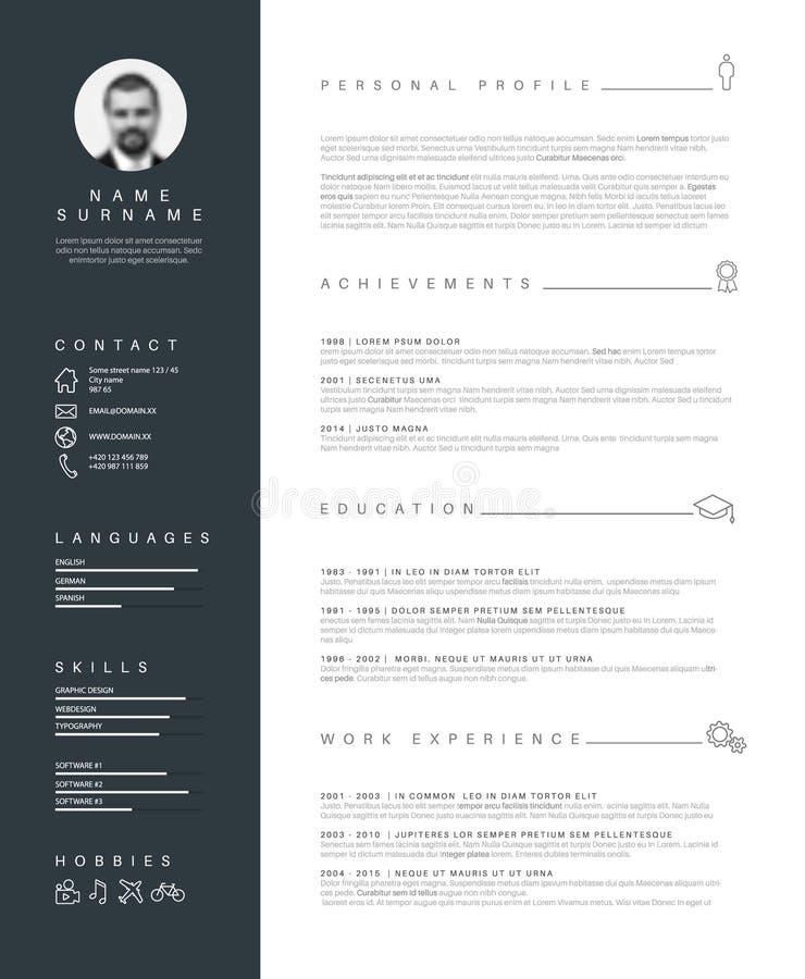 Minimalist meritförteckningCV-mall med trevlig typografi stock illustrationer