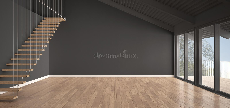 Minimalist Mezzanine Loft, Empty Industrial Space, Metal Roofing ...
