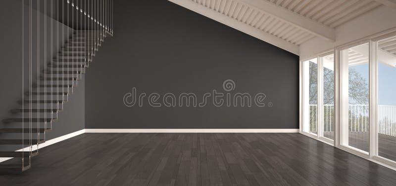 Minimalist Mezzanine Loft Empty Industrial Space Metal
