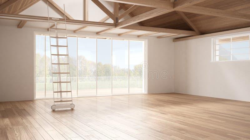 Minimalist mezzaninevind, tomt industriellt utrymme, träroofin arkivbilder