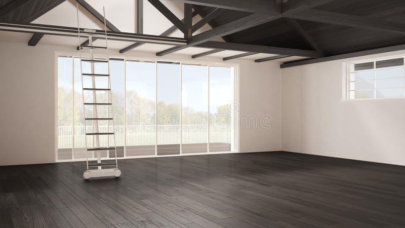 Minimalist mezzaninevind, tomt industriellt utrymme, träroofin royaltyfri foto