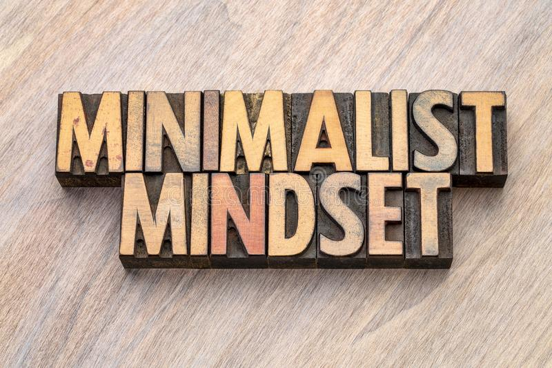 Minimalist mindset word abstract in vintage wood type royalty free stock photography