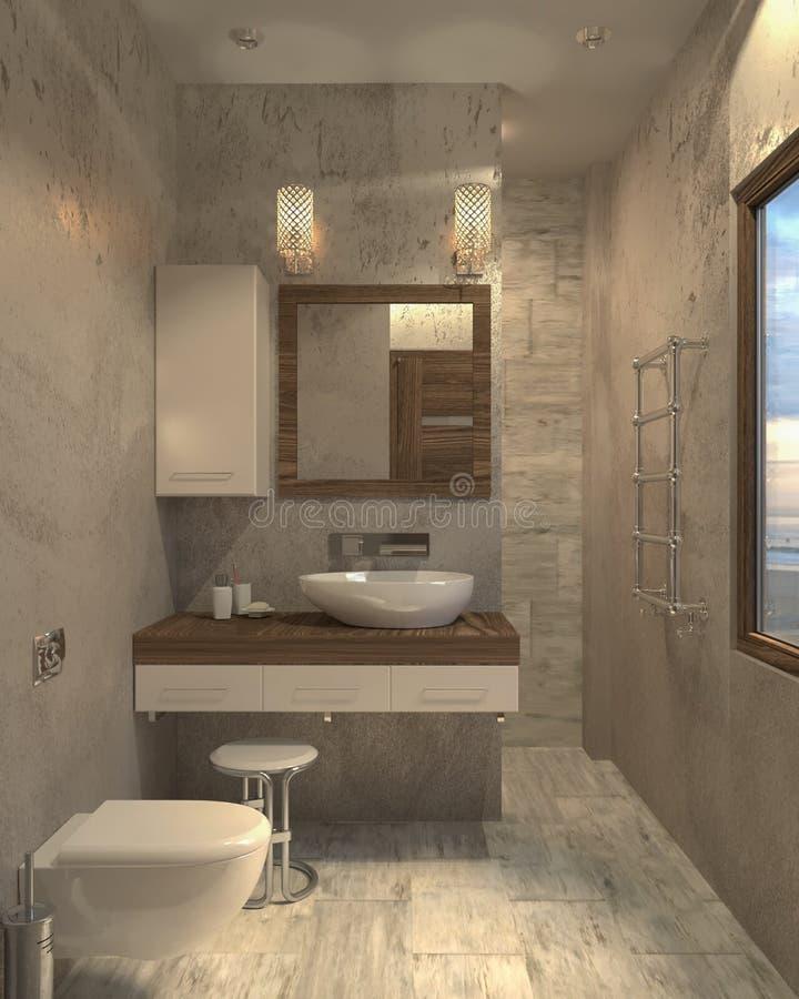 Minimalist modern bathroom 3d interior bathroom. Design stock illustration