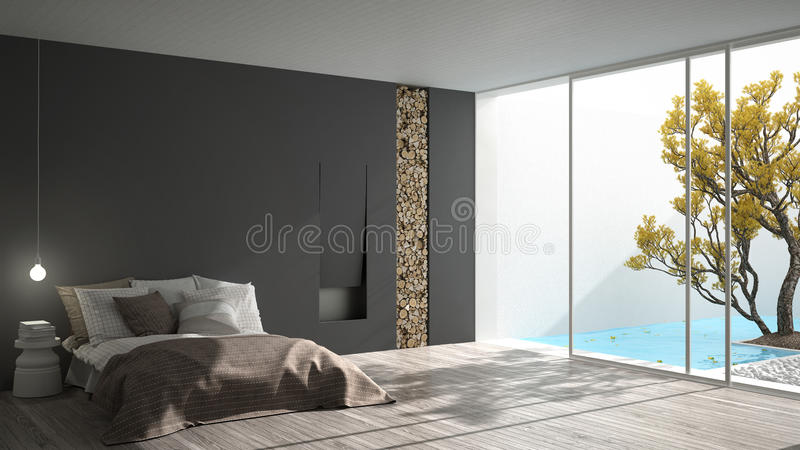 Minimalist modern bedroom with big window showing garden and swimming pool, white and gray interior design royalty free illustration