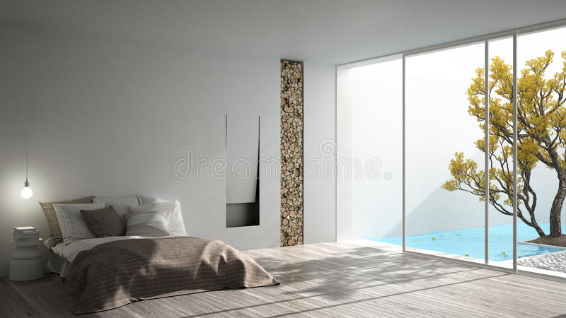 Minimalist modern bedroom with big window showing garden and swimming pool, white interior design royalty free stock image
