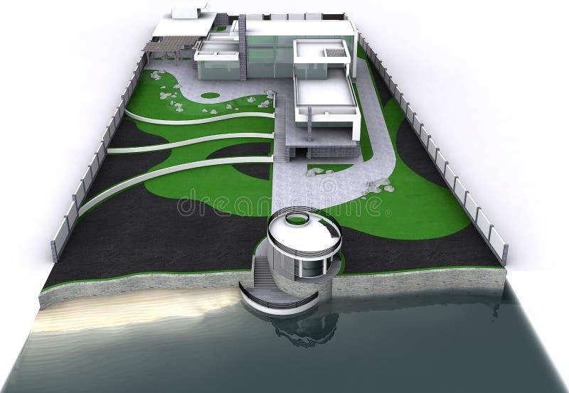 Minimalist modern generalplan för flyg- sikt för gods, tolkning 3D vektor illustrationer