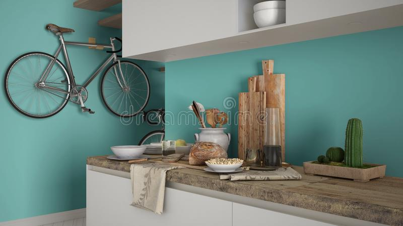 Minimalist modern kitchen close up with healthy breakfast, contemporary white and turquoise interior design stock photo