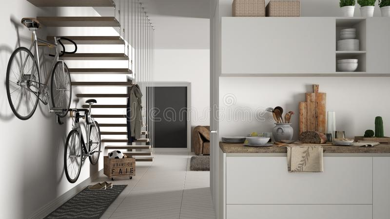 Minimalist modern kitchen with healthy breakfast, living room and wooden staircase, contemporary white and wooden interior stock photography