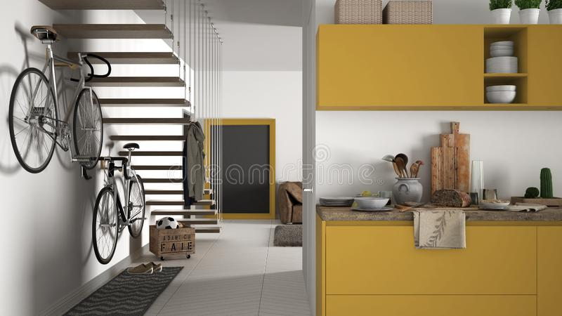 Minimalist modern kitchen with healthy breakfast, living room and wooden staircase, contemporary white and yellow interior. Design stock images